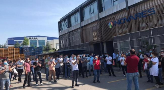 Novares fabrikası işçileri eylem yaptı
