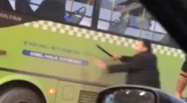 Otobüs şoförüne copla saldırdı