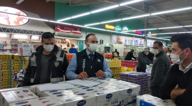 Tedbirlere uymayan markete ceza kesildi