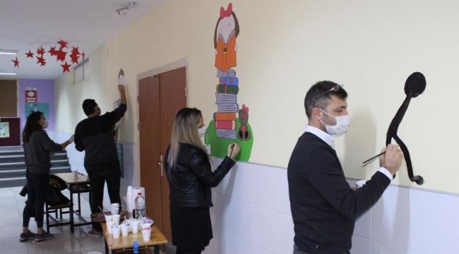 Darıcalı öğretmenler pandemi sürecinde okulu renklendirdi