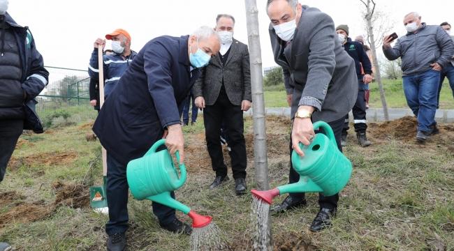Gebze'de sağlık çalışanları için ağaçlandırma çalışması yapıldı