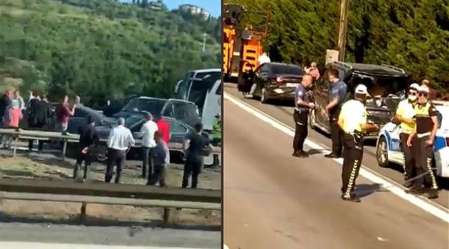 TEM'de zincirleme kaza; 4 kişi yaralandı, araç kuyruğu oluştu