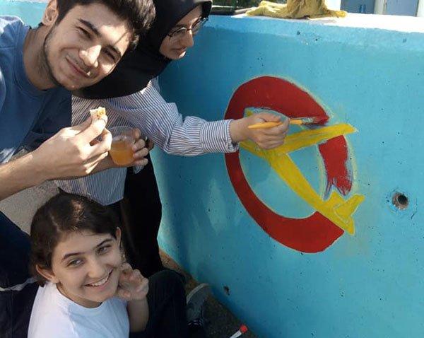 Genç Kanatlar'dan THK Binasına makyaj