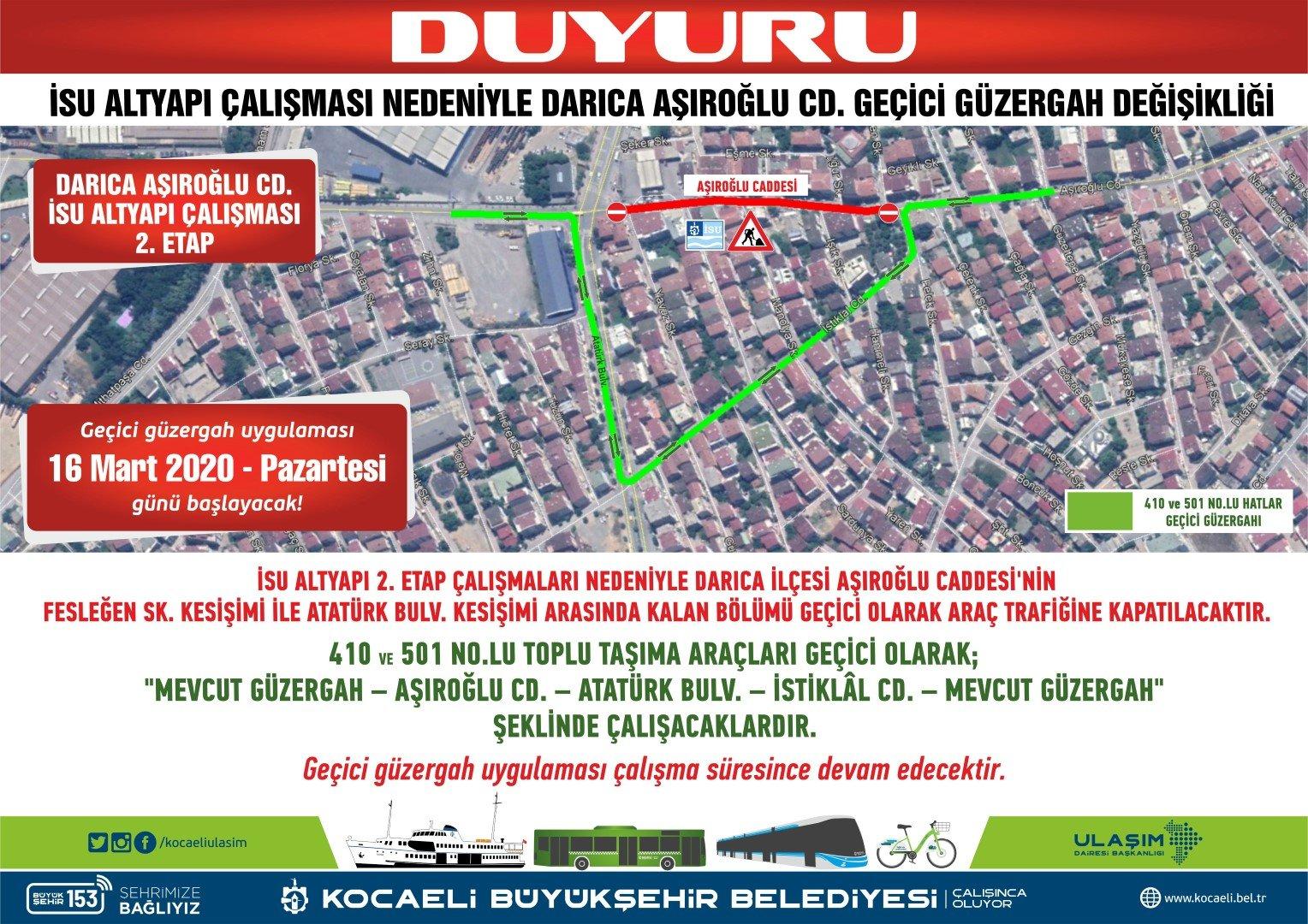 Aşıroğlu Caddesi'nde trafik düzenlemesi